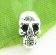10 Silver Skull Charms Spacer Beads 5x9mm